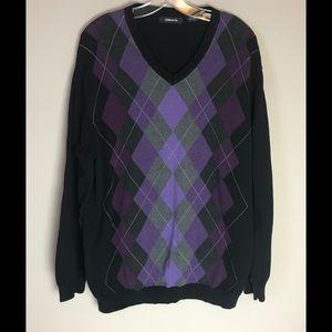 Claiborne Purple Pullover Argyle Sweater Men's XL